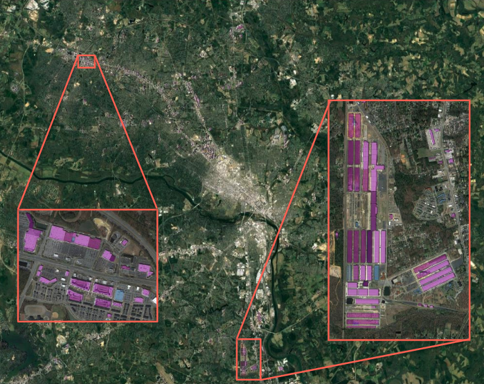 satellite image of city with river and two pop up images outlined in orange showing industrial rooftops colored in various shades of purple